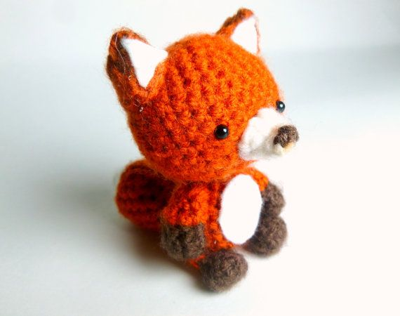 Meet the crochet fox stuffed animal!    This little guy measures 3.5 3.5 counting his large bushy tail and brown tipped ears fits perfectly into 20$