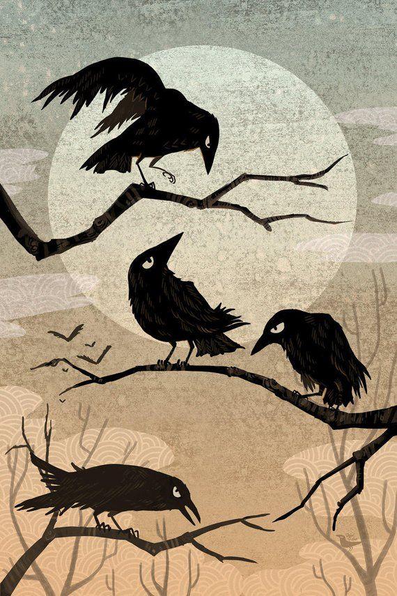 Crow Consternation art mini print 5×7 inch