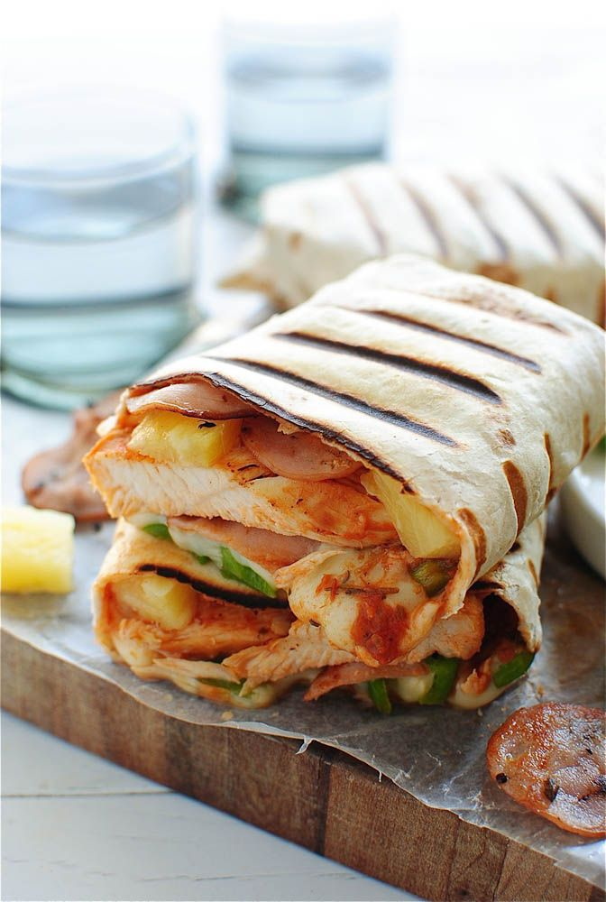 Grilled hawaiian pizza burritos. I would love these, but the rest of my family wouldn't...