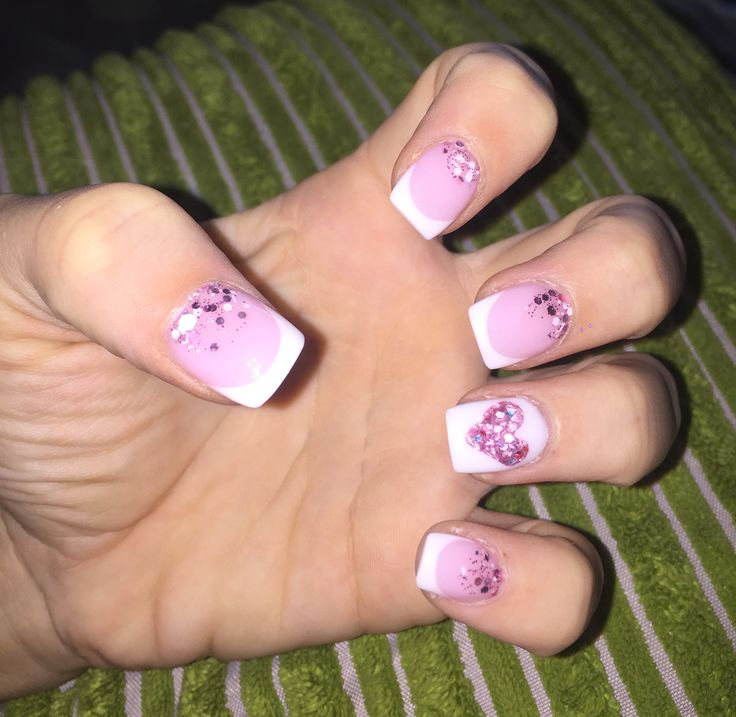 Pink & white french nails. Heart. Glitter. Pink. White french tips. Nails done by Bianca - Berne Senses