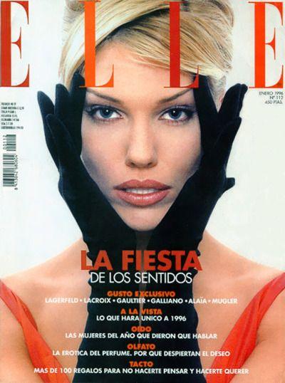 """ Elle Spain, January 1996. Model: Tricia Helfer. """
