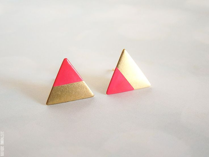 Neon Pink Dipped Triangle Earring Studs