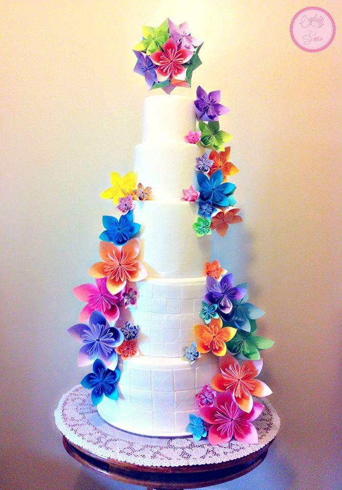 bright origami flowers wedding cakes pinterest