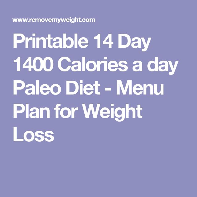 Printable 14 Day 1400 Calories a day Paleo Diet - Menu Plan for Weight Loss