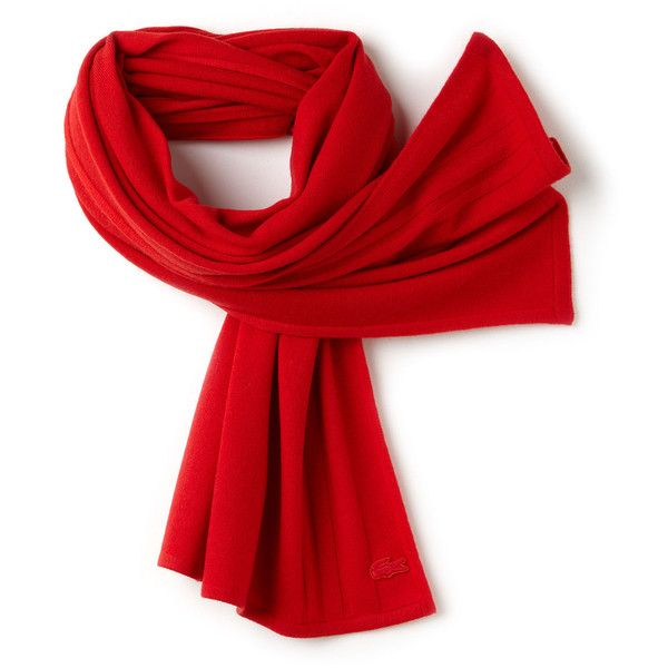 Lacoste Women's Cashmere Jersey Scarf With Contrast Details ($175) ❤ liked on Polyvore featuring accessories, scarves, cashmere scarves, cashmere shawls, lacoste and jersey scarves