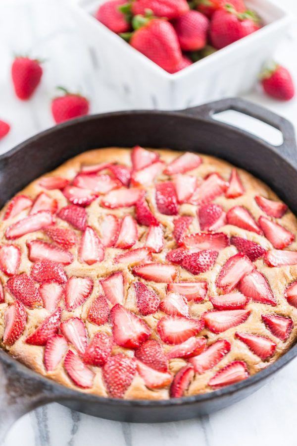 Strawberry Skillet Shortcake, Best Skillet Dessert Recipes via Pretty My Party