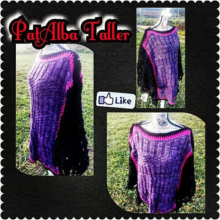 Poncho tejido delantero y espalda a palillo y mangas a crochet calado.... Distinto, original y práctico para las mañanas y tardes-noches muy frías 😊☁👌 #patalbataller #diseñodeautor #emprendedora #artesana #tejidos #handmade #palillo #confeccionapedido #crochet #regalounico
