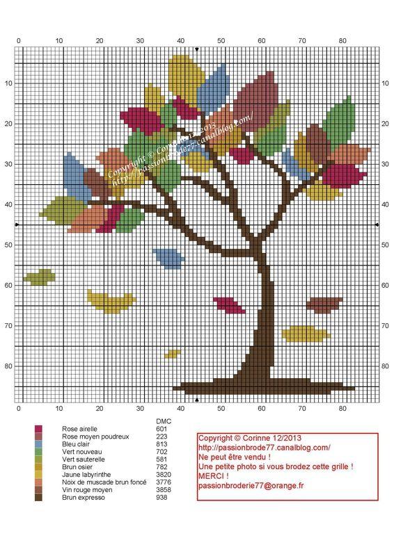 fleur- flower - plant - broderie - embroidery - Arbre 2 - Point de croix - Blog : http://broderiemimie44.canalblog.com/