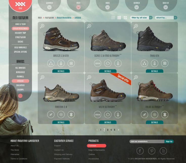 Mountain Wanderer - List page screen