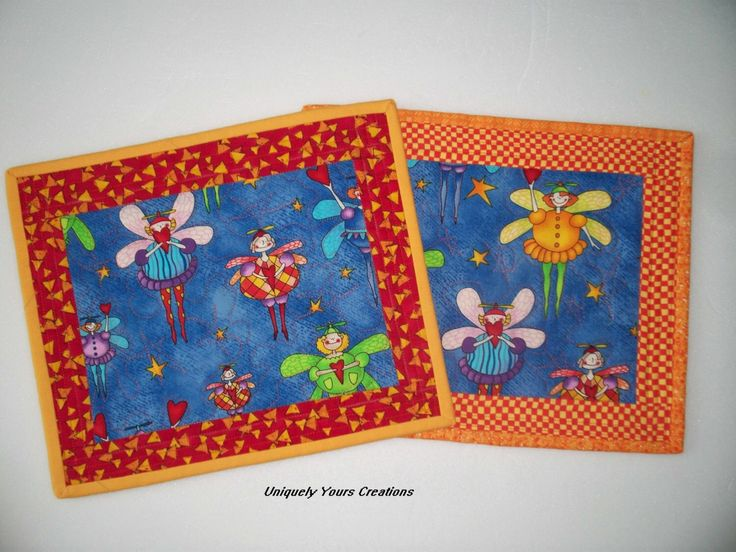 Kids Snack Mats - Whimsical  Fairy  - Orange Blue - Children Quilted Placemats - Foodie Mats by LindaHarvey on Etsy https://www.etsy.com/listing/248374185/kids-snack-mats-whimsical-fairy-orange