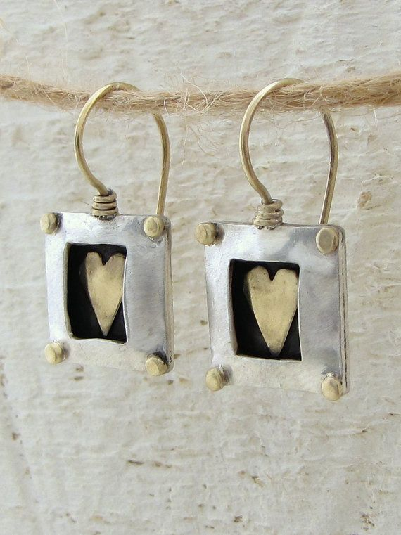 Square Silver Earrings with Gold Heart by Omiya on Etsy