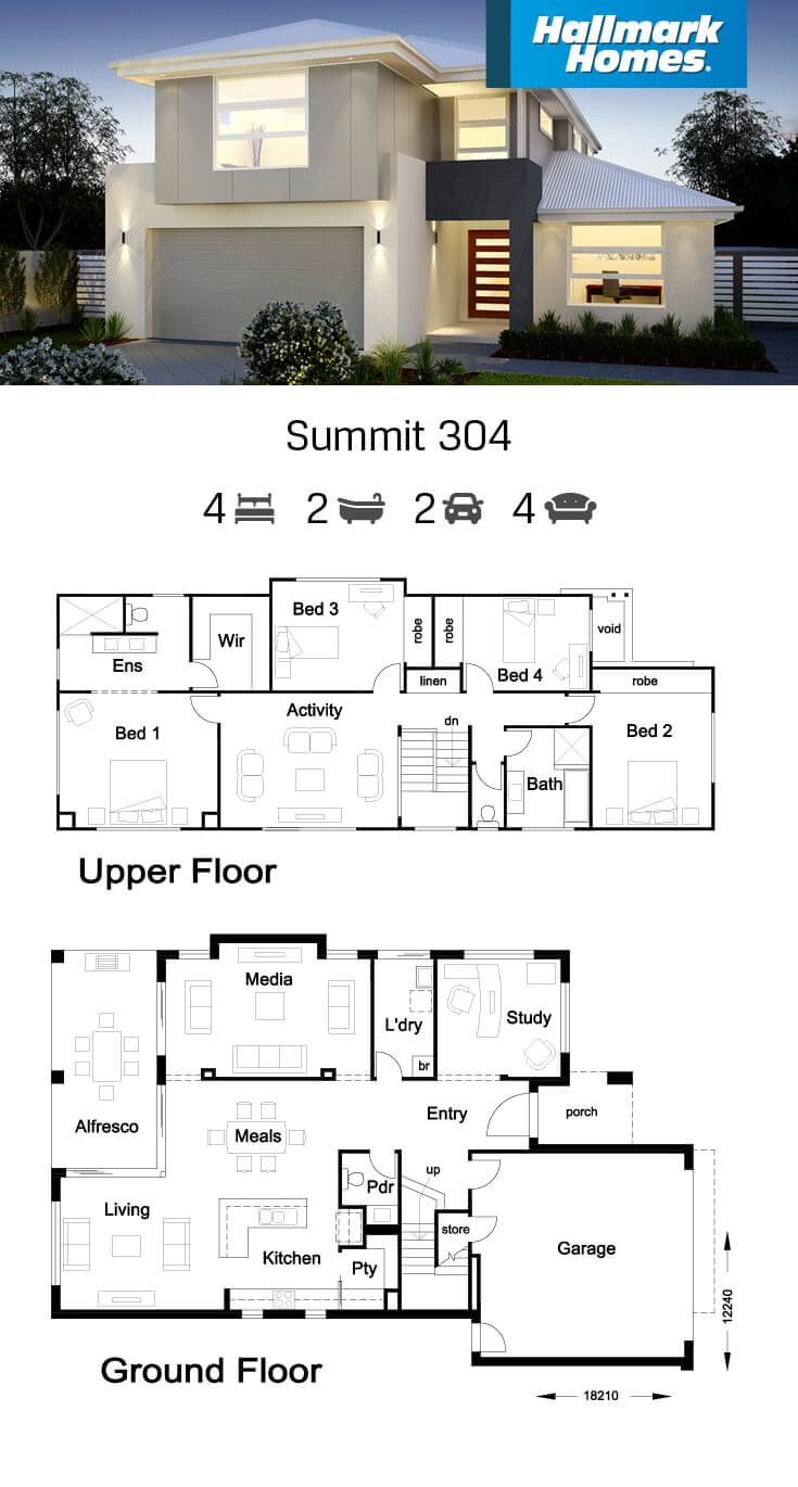 The largest of our two storey designs is the Summit 304. This home delivers large open plan living/meals areas, a gourmet kitchen, plus a separate study and media room. Four bedrooms, two bathrooms, a powder room and an activity room make this a very liveable design.