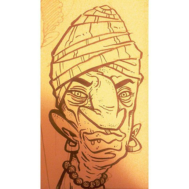 """Dhalsim Sr."" #kenny_poppins #dailydoodle #ink #sketchbook #drawing #creepy #dhalsim"