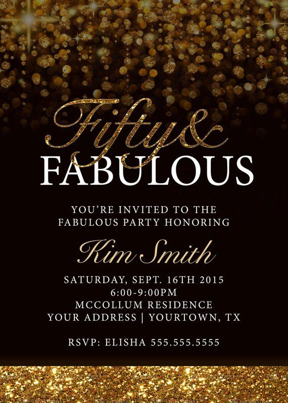Gold And Black 50th Birthday Invitation