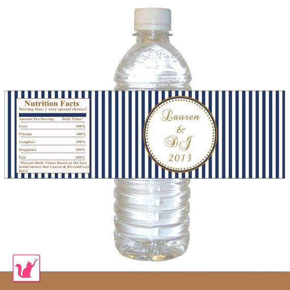 Printable Personalized Navy Blue Gold Stripes Water Bottle Labels Wrappers -  Bridal Shower Wedding Anniversary Customize Any Event Wraps on Etsy, $8.00