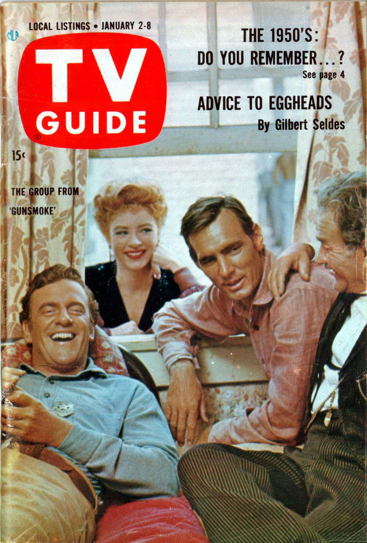 TV Guide, Jan. 2, 1960 — James Arness, Amanda Blake, Dennis Weaver & Milburn Stone in Gunsmoke (1955-75, CBS)...