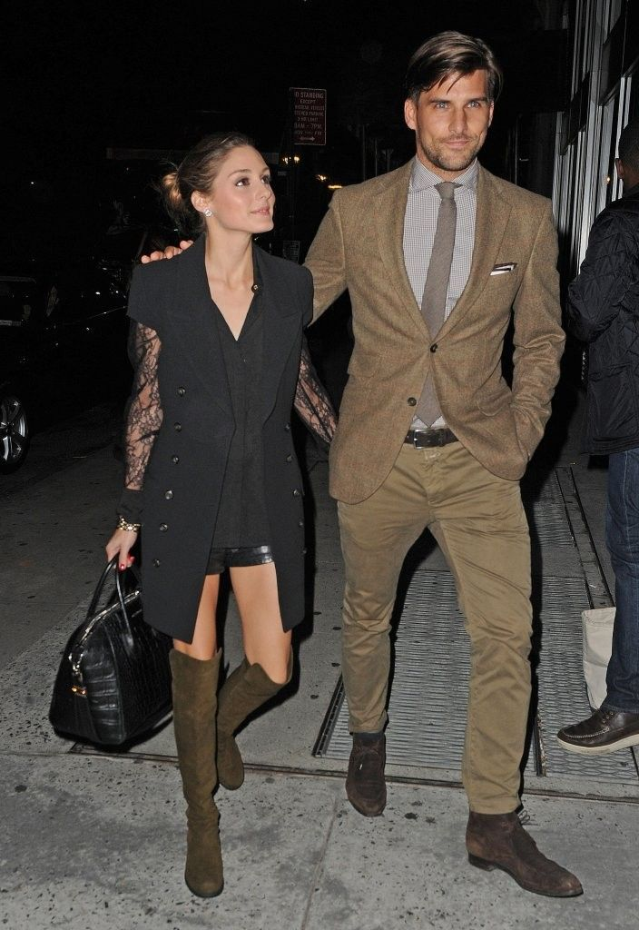 Olivia Palermo and Johannes Huebl. I like the sleeveless vest with black lace under. I would do with pencil pants at my age