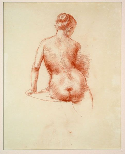 Nora Heysen - seated nude, back view, 1956 drawing conte crayon and charcoal on paper