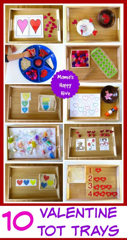 Enjoy 10 beautiful Valentine tot trays that are easy to set up for hours of toddler play. A few tot trays are Montessori inspired and have free printables. - www.mamashappyhive.com