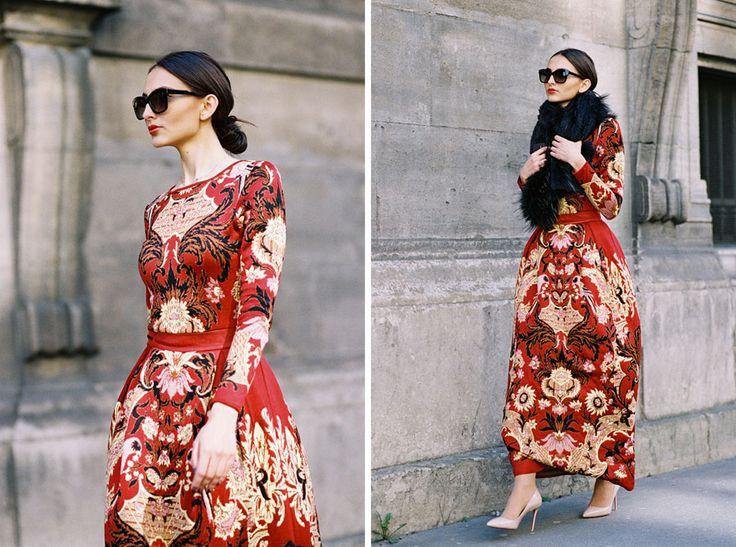 Embellished dress Photo by Vanessa Jackman Paris Fashion Week AW 2015....Before Dior