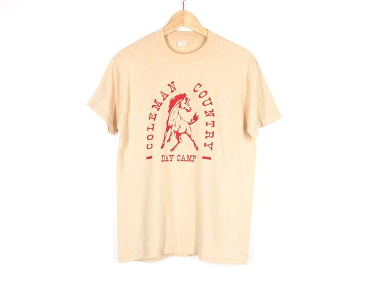 70s T Shirt -- Vintage Graphic Tee -- Horse Shirt -- Western Country Camp Shirt -- Tan & Red -- Soft Thin Cotton Tee -- Unisex S/ M by ImprovGoods on Etsy