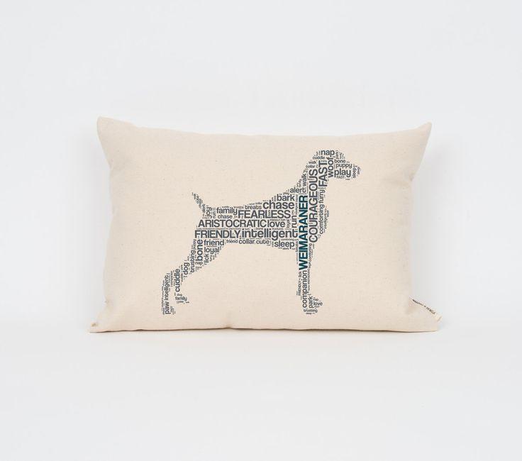 Weimaraner Pillow 12x18 // Weimaraner Art // Weimaraner Mom // Dog Breed Pillow // Dog Breed Art // Gift for Dog Lover // Pet Gift by DogCityandCo on Etsy https://www.etsy.com/listing/210882578/weimaraner-pillow-12x18-weimaraner-art