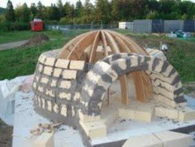 Wood oven under construction