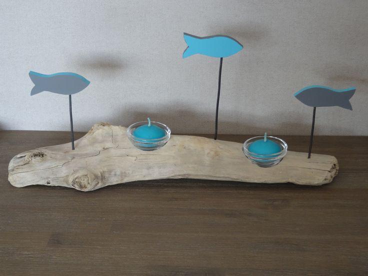 Photophore en bois flotté avec poissons couleur bleu - gris : Luminaires par c-driftwood-bois-flotte