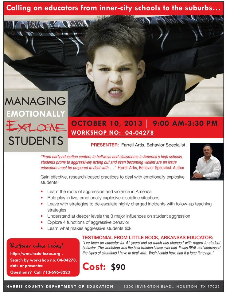 Gain effective, research-based practices to deal with emotionally explosive  students with behavior specialist Farrell Artis on Oct. 10. You role pl…