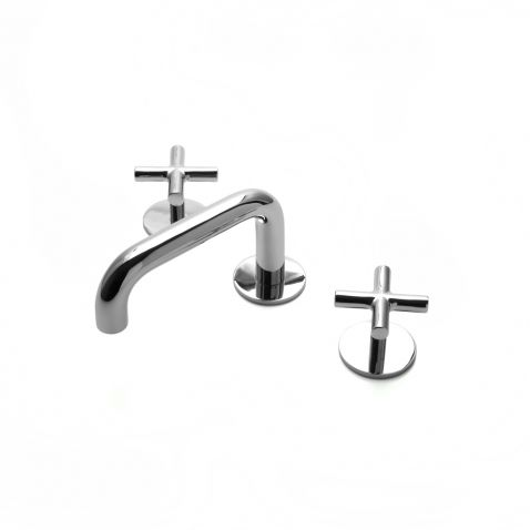 Flyte+Low+Profile+Three+Hole+Deck+Mounted+Lavatory+Faucet+with+Metal+Cross+Handles
