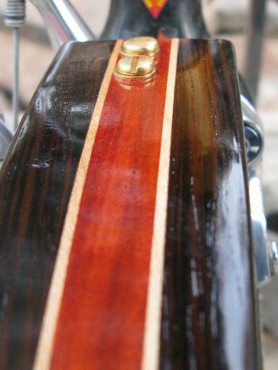 Woodys Chop Chort hinten Wenge und Blut Holz Fahrrad Fender.