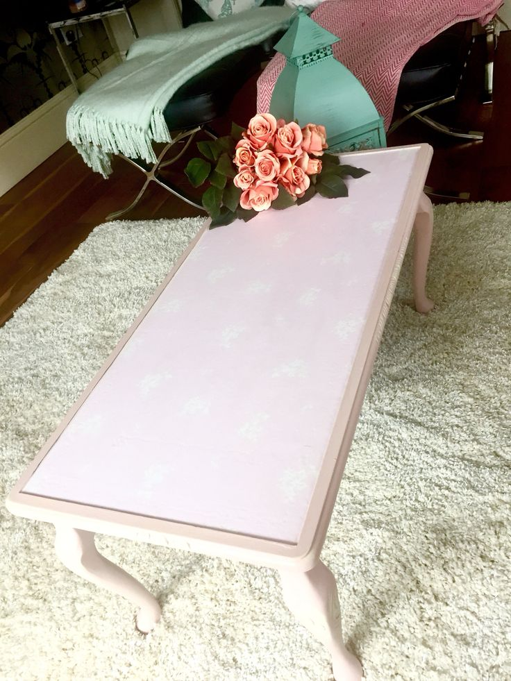 Pink shabby chic coffee table with Queen Anne legs.