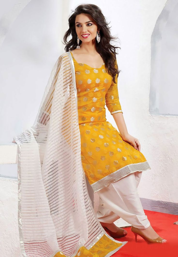 Mustard Poly Cotton Chanderi Salwar Kameez: KBS616