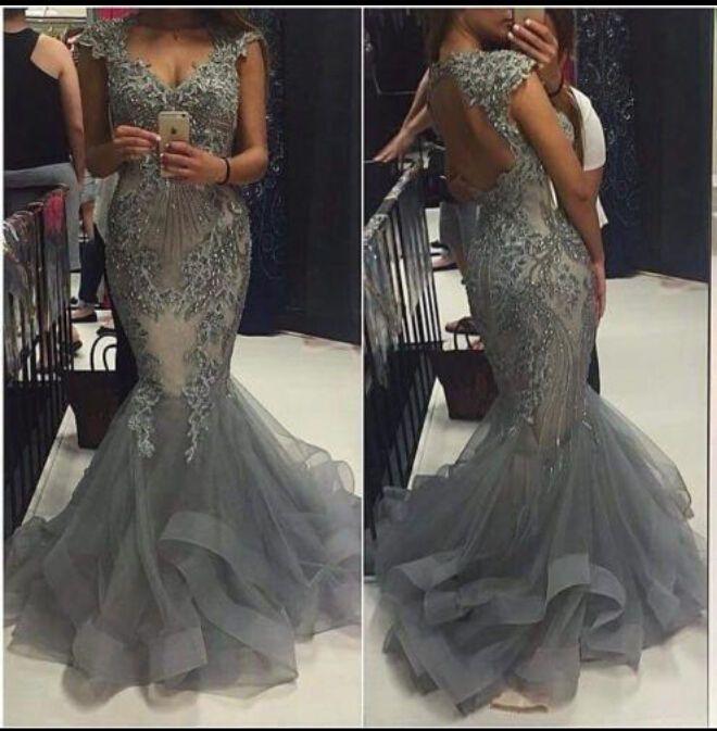 Applique perlé dos ouvert bal formel soirée célébrité robe de robe de sirène   eBay