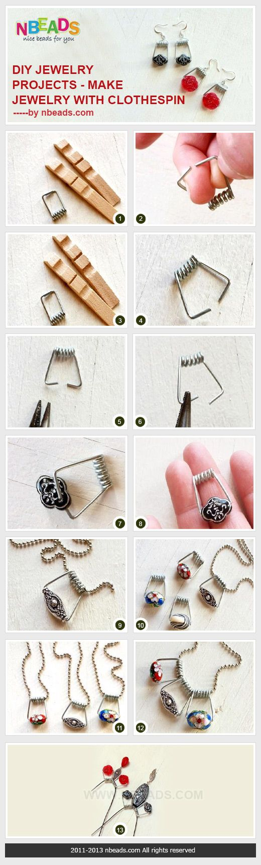 diy jewelry projects - make jewelry with clothespin