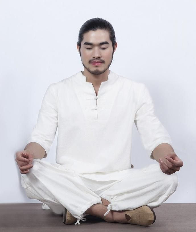 Men's Cotton Meditation Clothing 2-Piece Set