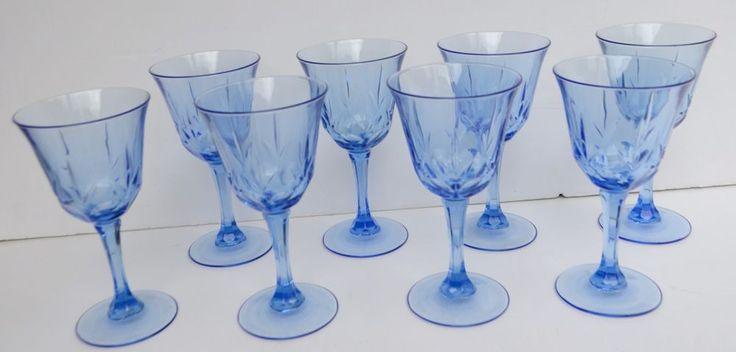 "Blue Glass, diamond cut long stem 7"" wine glass set of 8"