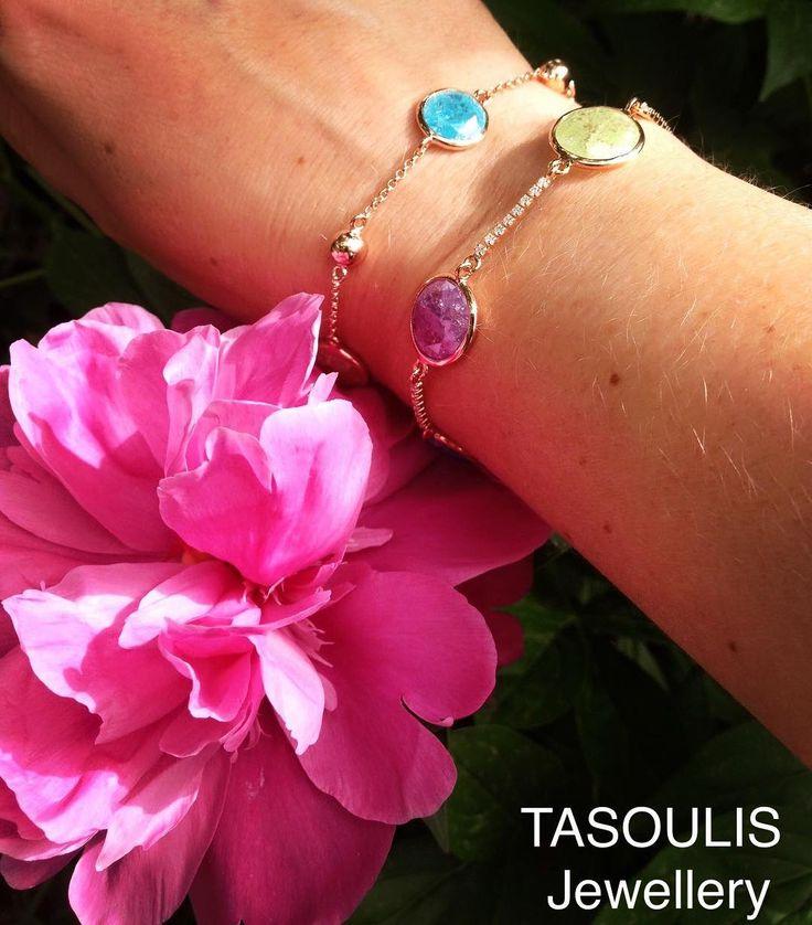 Λάμψε σε καλοκαιρινό στυλ!💦Ασημένια επιχρυσωμένα βραχιόλια σε ροζ χρυσό με ημιπολύτιμες πέτρες💎  #tasoulisjewellery💎