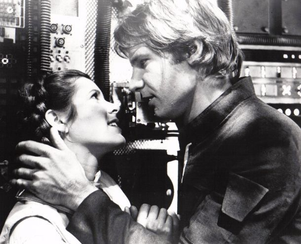 Han & Leia.: Harrisonford, Harrison Ford, Engagement Photo, Favorite Couple, Stars War, Leia Stars, Hans Solo, Empire Strike, Read Princesses