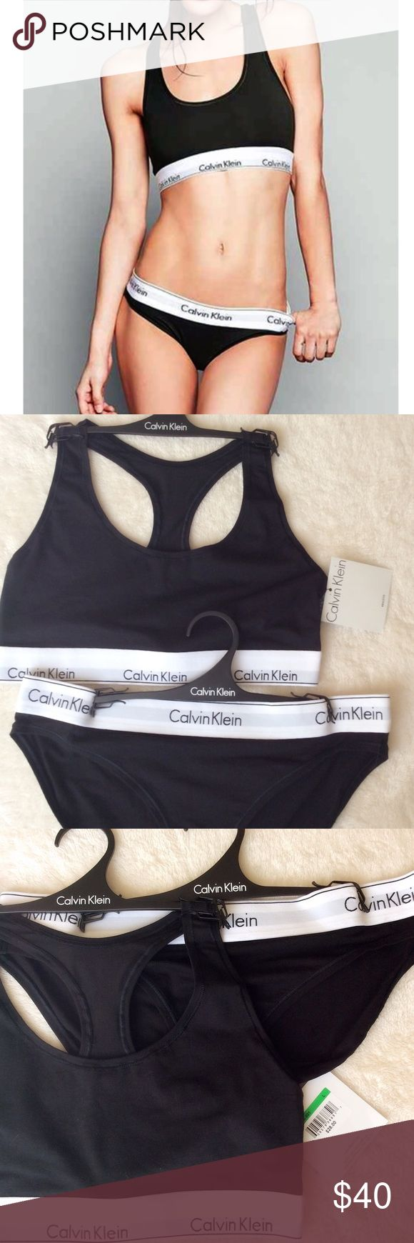 Calvin Klein Modern cotton Bralette bikini panty NWT Authentic Calvin Klein modern cotton logo bralette and matching bikini underwear set. Calvin Klein Intimates & Sleepwear