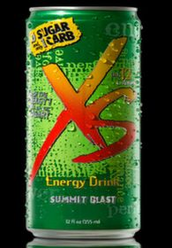 XS Energy Drink Summit Blast (The newest flavor from XS. Tastes a little like Mountain Dew but better for you,)