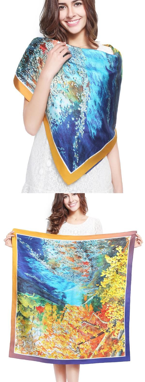 Beautiful Creek Print Silk Scarf! A variety of ways to wear, suitable for a variety of occasions!Elegant design created by Italian designer!More silk style at www.vividmoo.com!