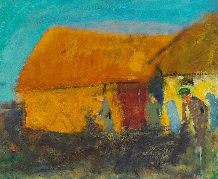 Oluf Høst (Danish, 1884-1966), Brændehuggere, Bognemark [Wood cutters, Bognemark]. Oil on canvas, 46 x 55 cm.