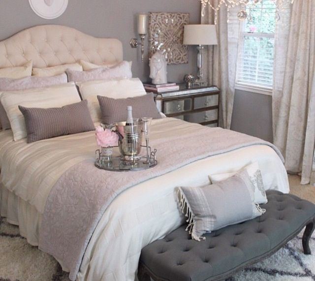Romantic master bedroom idea upholstered headboard and mirrored  nightstands  Love the contrast of the dark bench at the foot of the bed 55 best Blue   Cream Bedroom Ideas images on Pinterest   Home  . Cream Bedroom Ideas. Home Design Ideas