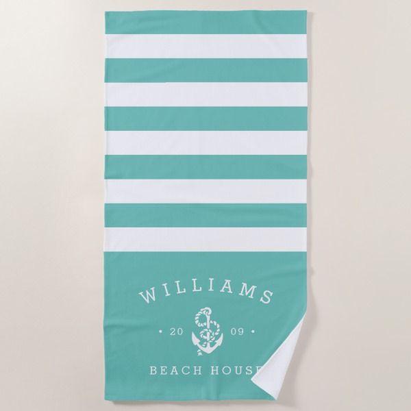 Turquoise Stripe Personalized Beach House Beach Towel Zazzle Com