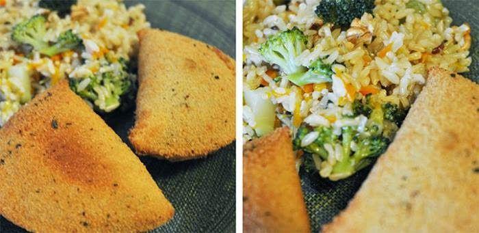 Universo dos Alimentos: arroz tricolor com rissois