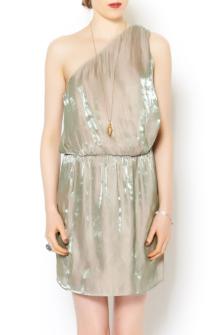 Pearl colored one-shoulder dress. Pair with strappy nude heels and a nude clutch for a classy party dress! Dry Clean Only.   Soul Dress by Rory Beca. Clothing - Dresses - Valentines's Day Clothing - Dresses - Formal Clothing - Dresses - Holiday Clothing - Dresses - Mini Clothing - Dresses - Night Out Tampa, Florida