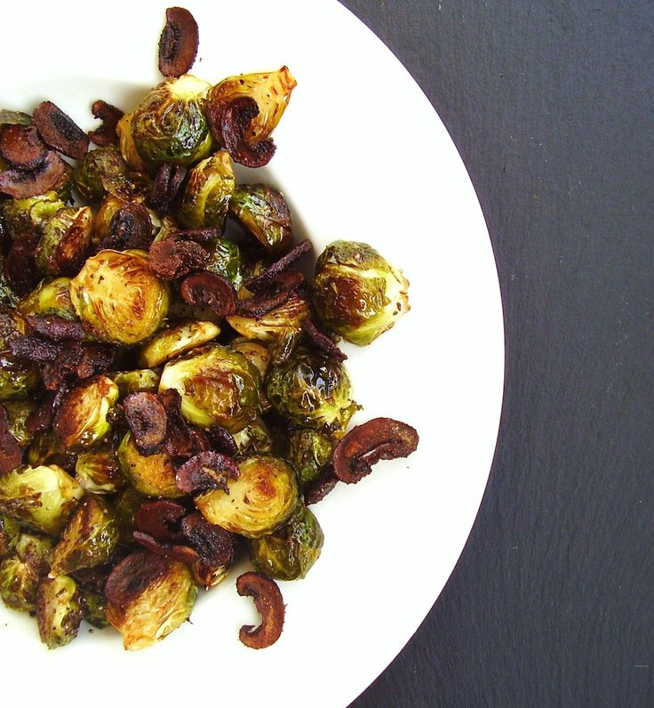 "Roasted Brussels Sprouts with ""Baby Bella"" Bacon Bits 