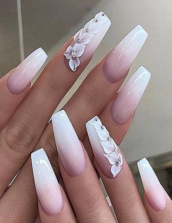 Fresh Easy White Long Nail Art Styles For Teenage Girls Matte White Nails White Nail Designs Mauve Nails