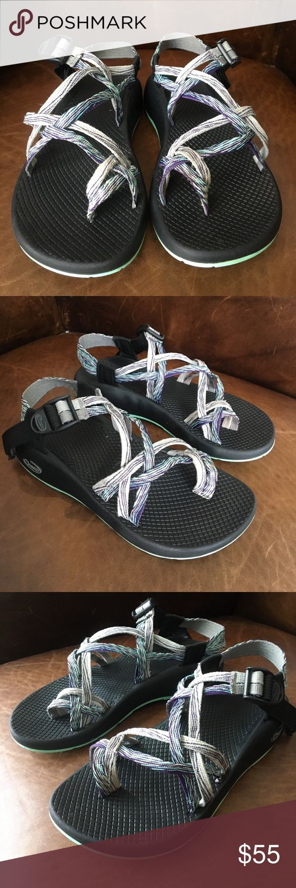 Chacos size 7. Purple aqua grey stripes. XS2 Yampa Women's Chacos size 7. XS2 Yampa. Vibram sole. Preowned. Excellent tread. Purple aqua and grey stripes. Freshly washed, scrubbed and detailed uppers. Supper clean toe area and foot bed which is rare for used Chacos. Chaco Shoes Sandals